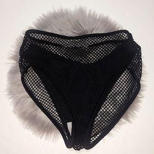 Xhilaration | Black Mesh Overlay Bikini Bottom - S